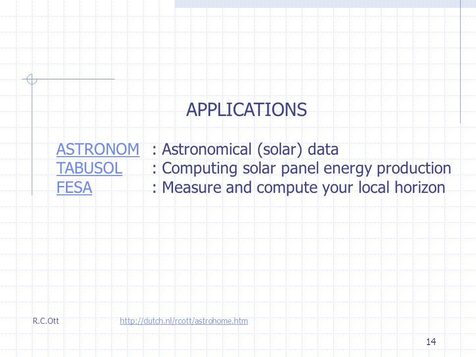 14 APPLICATIONS ASTRONOMASTRONOM : Astronomical (solar) data TABUSOLTABUSOL: Computing solar panel energy production FESAFESA: Measure and compute your local horizon R.C.Ott http://dutch.nl/rcott/astrohome.htm