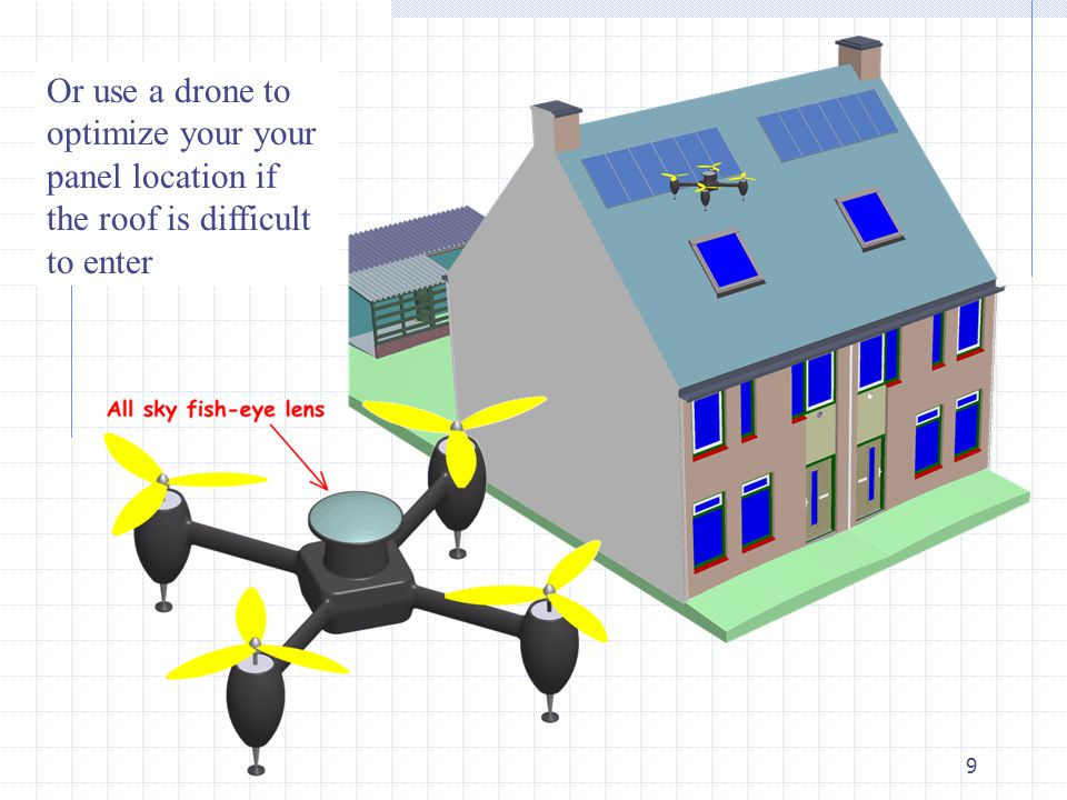9 Or use a drone to optimize your your panel location if the roof is difficult to enter