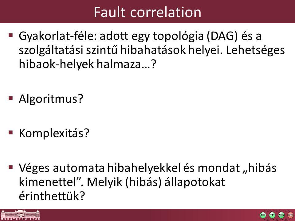 Fault correlation  Gyakorlat-féle: adott egy topológia (DAG) és a szolgáltatási szintű hibahatások helyei.