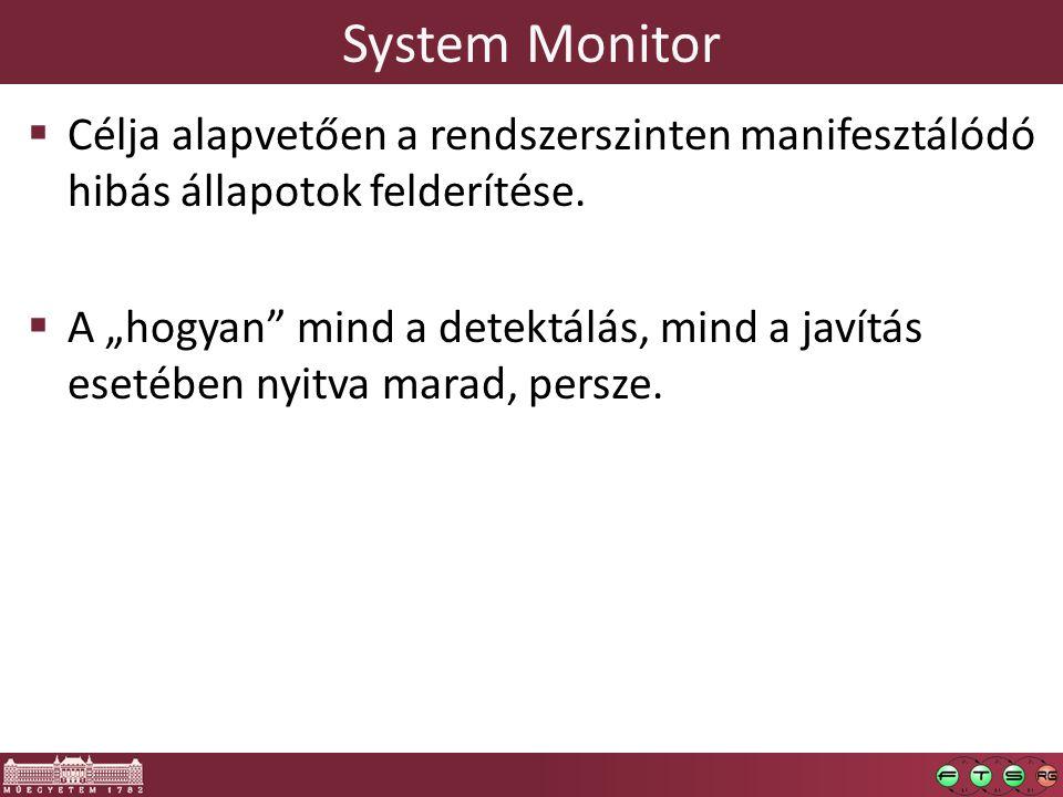 System Monitor  Célja alapvetően a rendszerszinten manifesztálódó hibás állapotok felderítése.