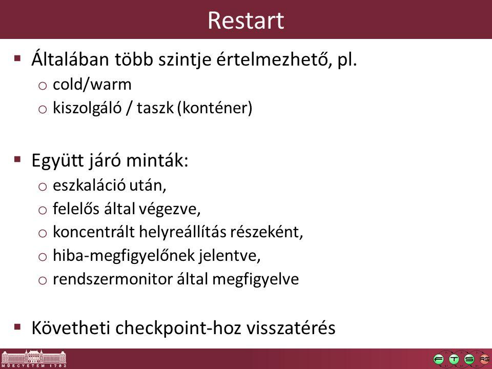 Restart  Általában több szintje értelmezhető, pl.