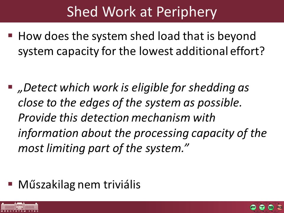 Shed Work at Periphery  How does the system shed load that is beyond system capacity for the lowest additional effort.