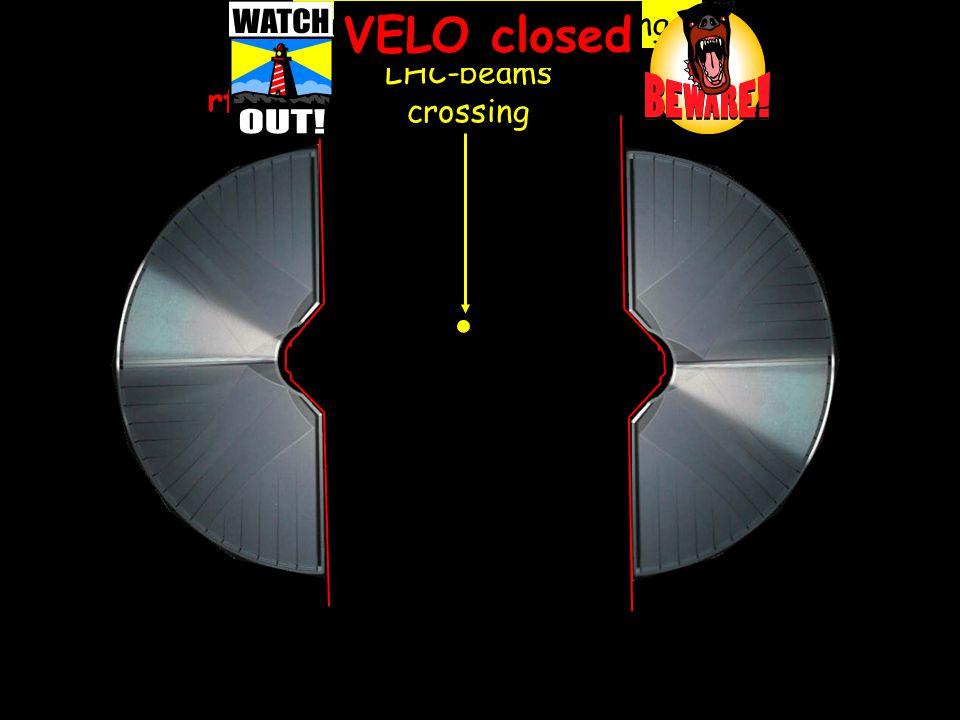 23 0 15 -1530 -30 [mm] rf-foil VELO open 0. half-open VELO tracking LHC-beams crossing VELO closed 15 -15 30 -30 -45 45 [mm]