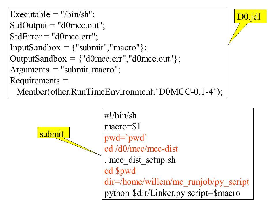 Executable = /bin/sh ; StdOutput = d0mcc.out ; StdError = d0mcc.err ; InputSandbox = { submit , macro }; OutputSandbox = { d0mcc.err , d0mcc.out }; Arguments = submit macro ; Requirements = Member(other.RunTimeEnvironment, D0MCC-0.1-4 ); #!/bin/sh macro=$1 pwd=`pwd` cd /d0/mcc/mcc-dist.
