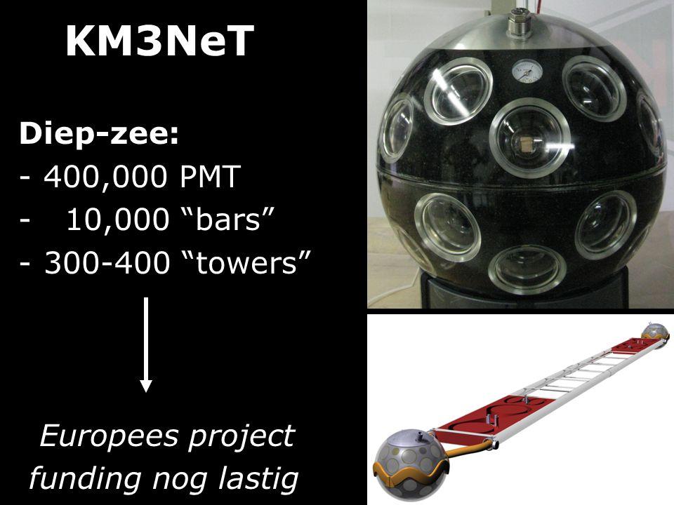 "KM3NeT Diep-zee: -400,000 PMT - 10,000 ""bars"" -300-400 ""towers"" Europees project funding nog lastig"