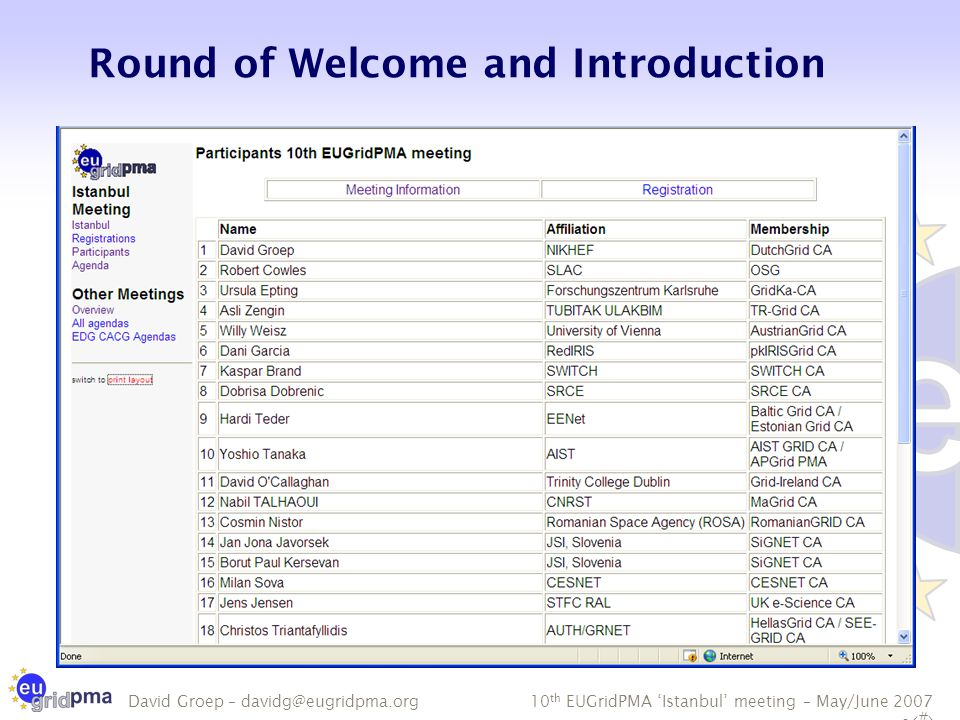 10 th EUGridPMA 'Istanbul' meeting – May/June 2007 - 9 David Groep – davidg@eugridpma.org Minutes from the Last Meeting Thanks to Mike Helm, Emir Imamagic  Comments and modifications.