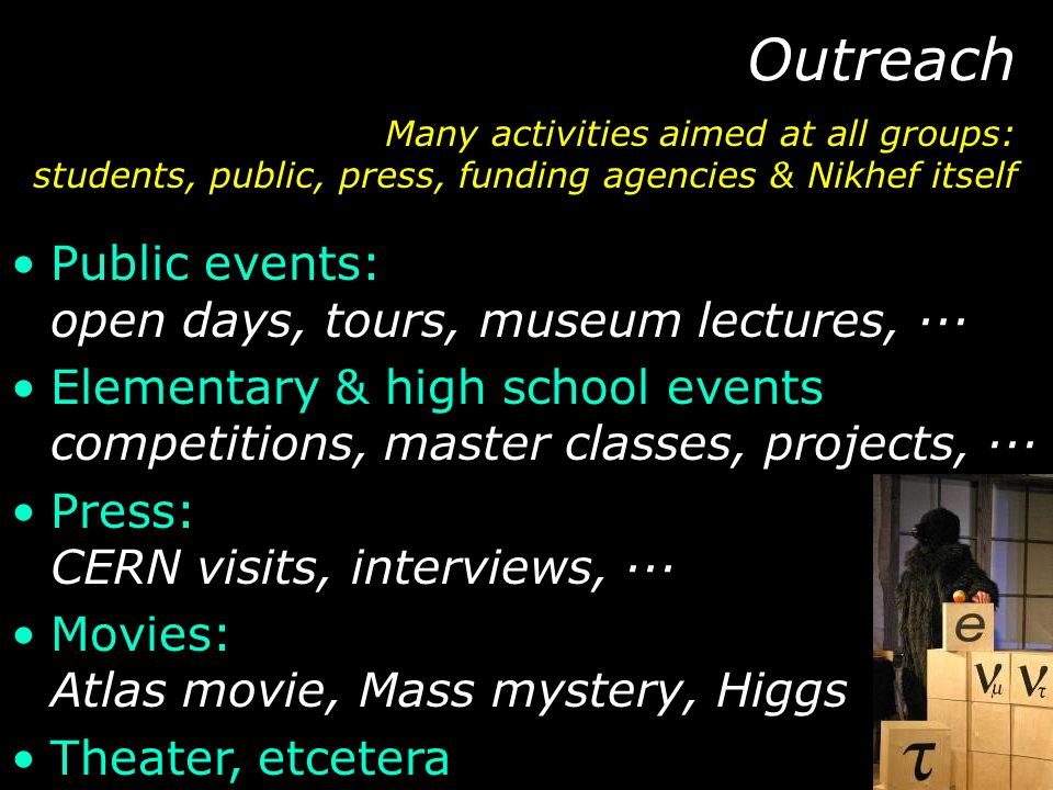 Public events: open days, tours, museum lectures, ··· Elementary & high school events competitions, master classes, projects, ··· Press: CERN visits,
