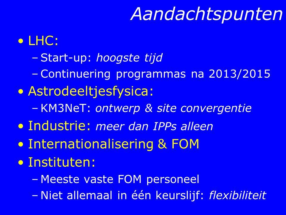 Aandachtspunten LHC: –Start-up: hoogste tijd –Continuering programmas na 2013/2015 Astrodeeltjesfysica: –KM3NeT: ontwerp & site convergentie Industrie: meer dan IPPs alleen Internationalisering & FOM Instituten: –Meeste vaste FOM personeel –Niet allemaal in één keurslijf: flexibiliteit