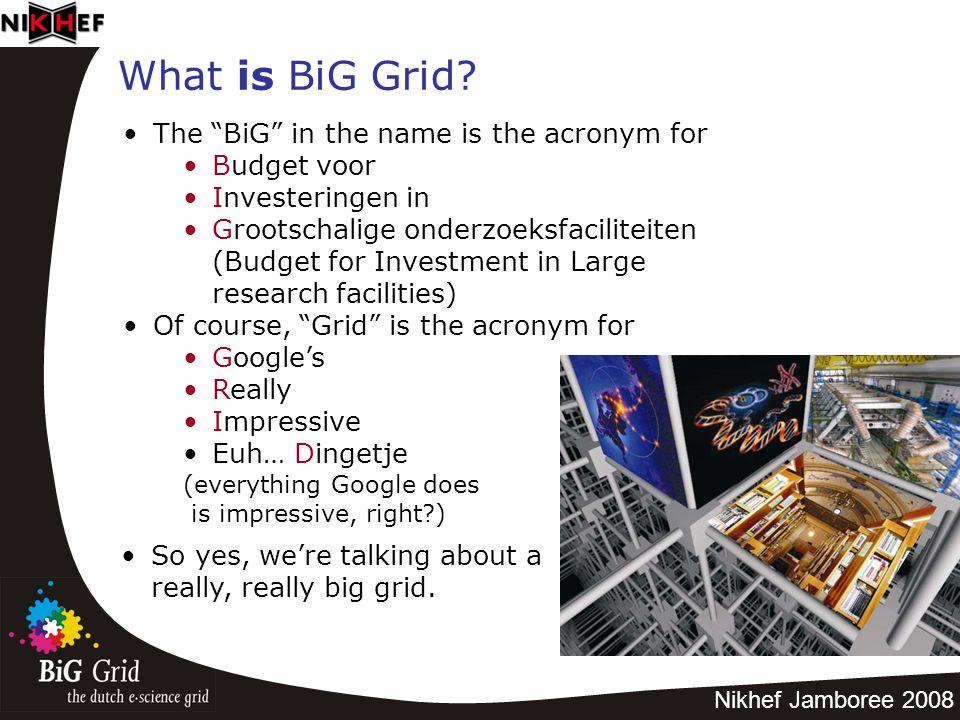 """Nikhef Jamboree 2008 What is BiG Grid? The """"BiG"""" in the name is the acronym for Budget voor Investeringen in Grootschalige onderzoeksfaciliteiten (Bud"""