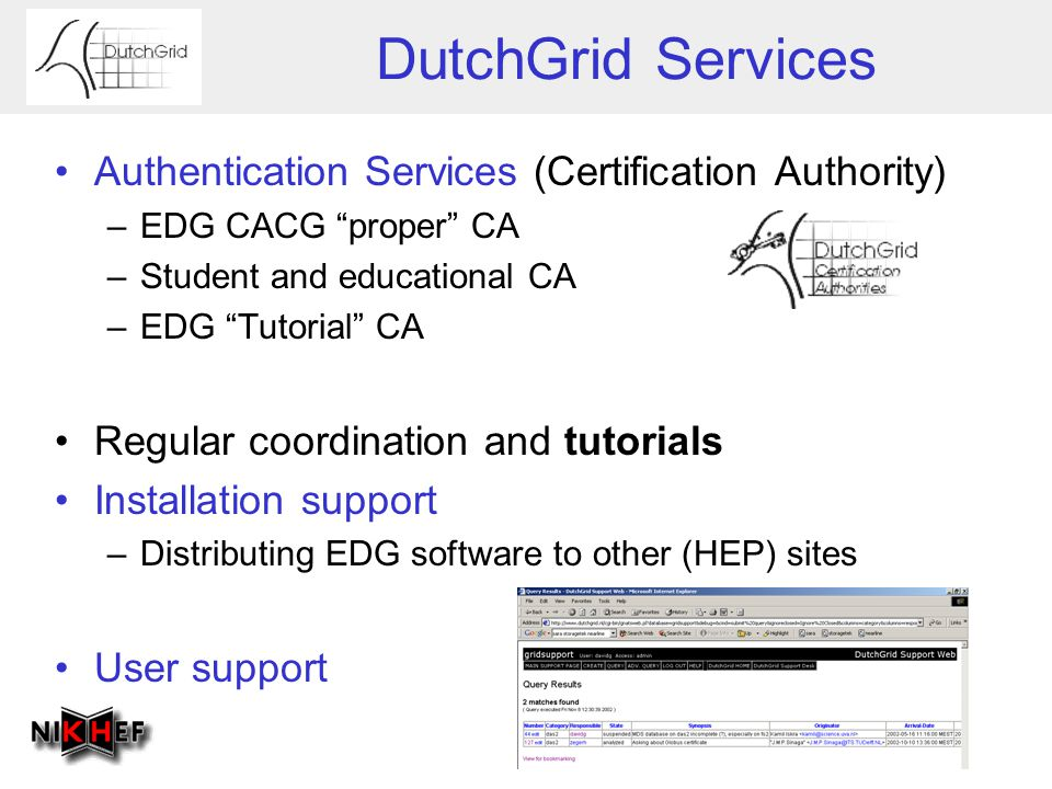 "DutchGrid Services Authentication Services (Certification Authority) –EDG CACG ""proper"" CA –Student and educational CA –EDG ""Tutorial"" CA Regular coor"