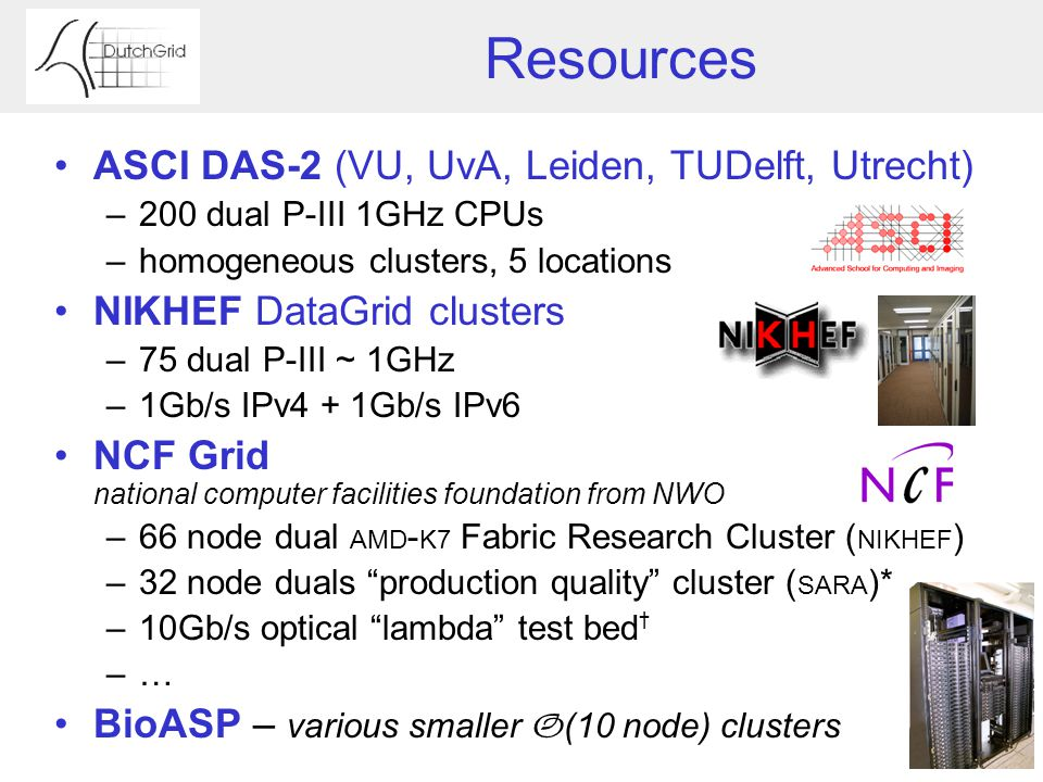 Resources ASCI DAS-2 (VU, UvA, Leiden, TUDelft, Utrecht) –200 dual P-III 1GHz CPUs –homogeneous clusters, 5 locations NIKHEF DataGrid clusters –75 dual P-III ~ 1GHz –1Gb/s IPv4 + 1Gb/s IPv6 NCF Grid national computer facilities foundation from NWO –66 node dual AMD - K7 Fabric Research Cluster ( NIKHEF ) –32 node duals production quality cluster ( SARA )* –10Gb/s optical lambda test bed † –… BioASP – various smaller O (10 node) clusters