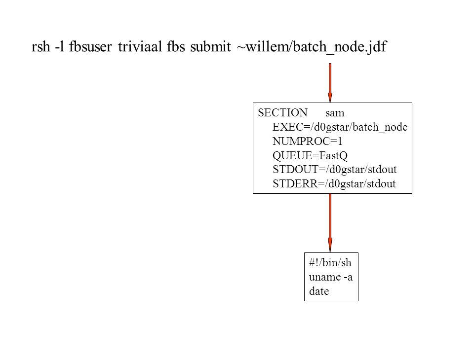 SECTION sam EXEC=/d0gstar/batch_node NUMPROC=1 QUEUE=FastQ STDOUT=/d0gstar/stdout STDERR=/d0gstar/stdout #!/bin/sh uname -a date rsh -l fbsuser triviaal fbs submit ~willem/batch_node.jdf