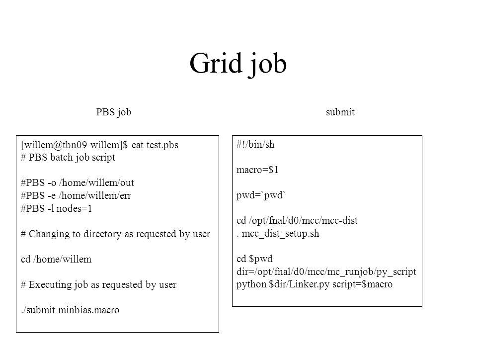 Grid job #!/bin/sh macro=$1 pwd=`pwd` cd /opt/fnal/d0/mcc/mcc-dist.