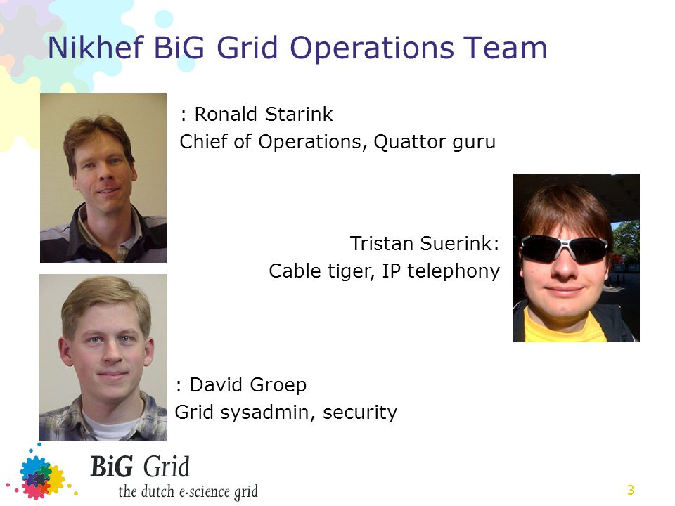 3 Nikhef BiG Grid Operations Team : Ronald Starink Chief of Operations, Quattor guru Tristan Suerink: Cable tiger, IP telephony : David Groep Grid sysadmin, security