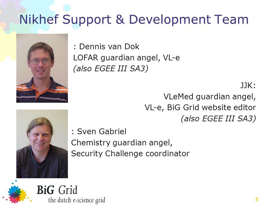 5 Nikhef Support & Development Team : Dennis van Dok LOFAR guardian angel, VL-e (also EGEE III SA3) : Sven Gabriel Chemistry guardian angel, Security Challenge coordinator JJK: VLeMed guardian angel, VL-e, BiG Grid website editor (also EGEE III SA3)