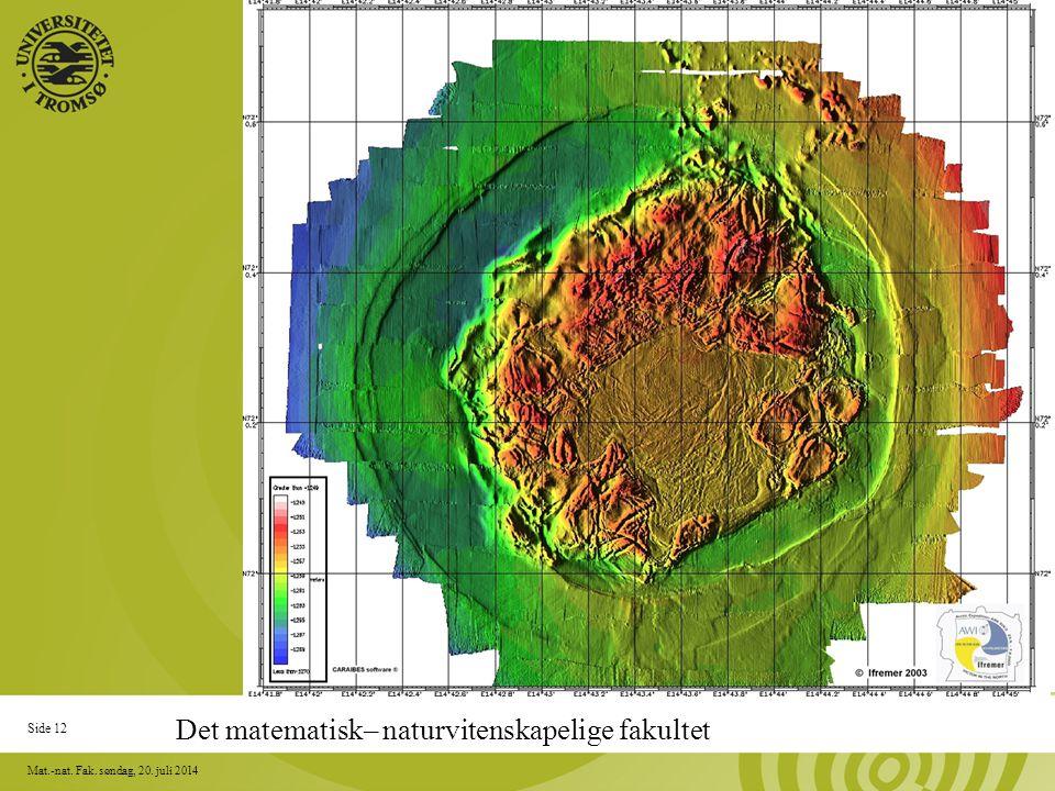 Side 12 Mat.-nat. Fak. søndag, 20. juli 2014 NORWAY Det matematisk– naturvitenskapelige fakultet