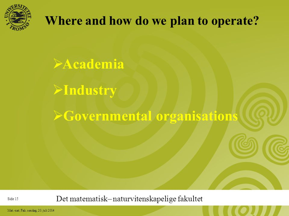 Side 15 Mat.-nat. Fak. søndag, 20. juli 2014 Where and how do we plan to operate.