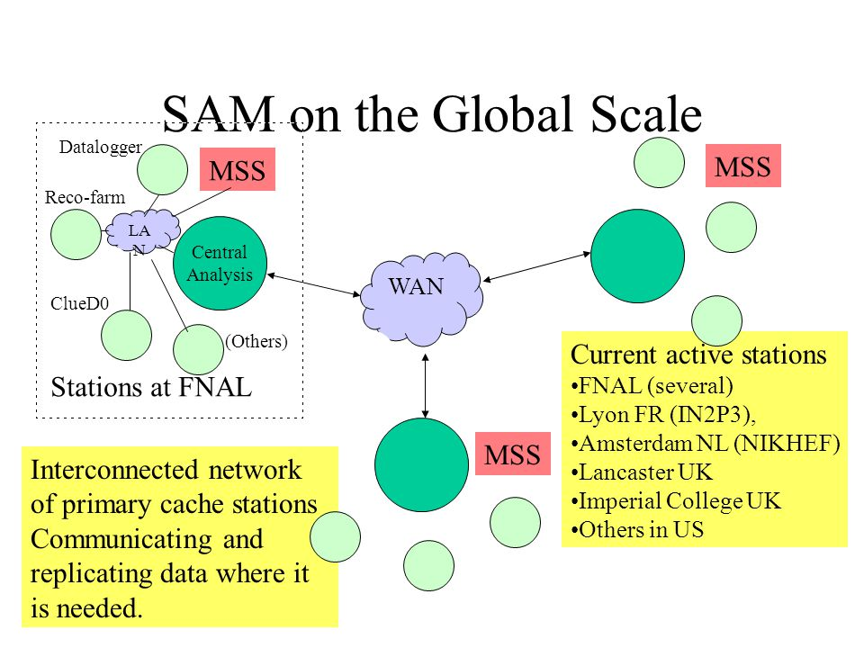 SAM on the Global Scale Central Analysis Interconnected network of primary cache stations Communicating and replicating data where it is needed.