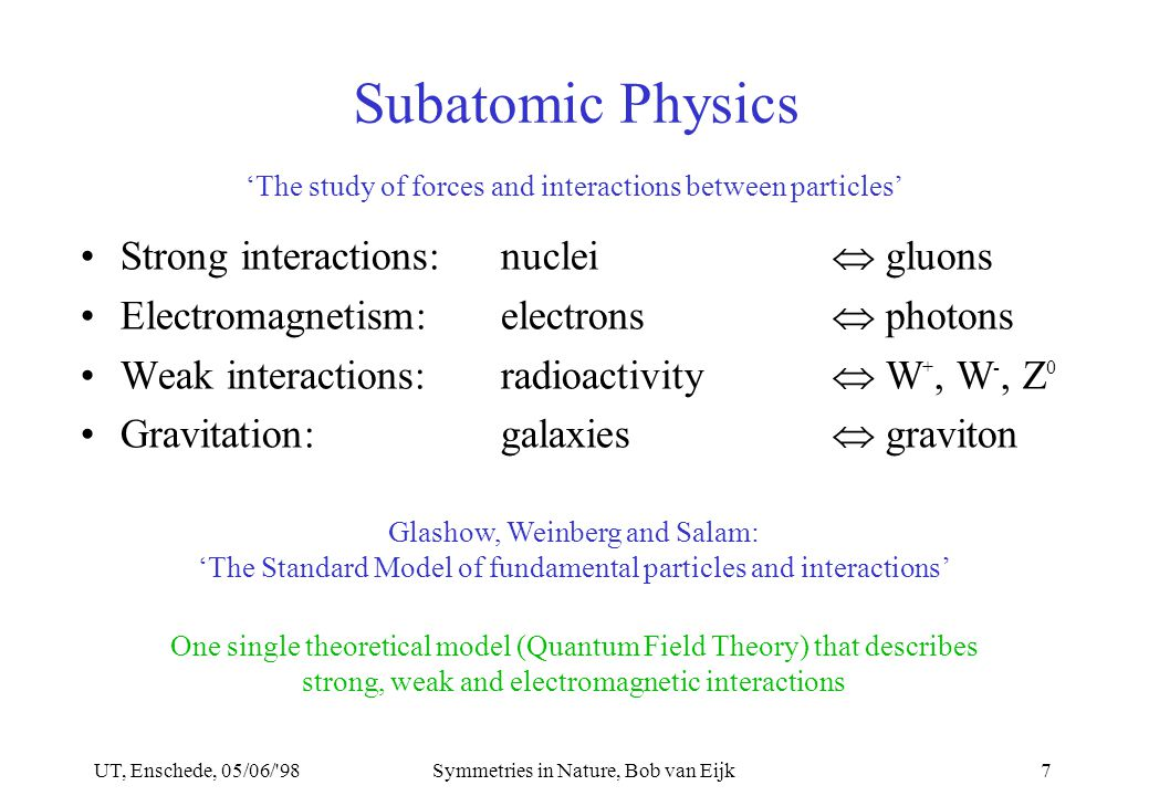 UT, Enschede, 05/06/ 98Symmetries in Nature, Bob van Eijk7 Subatomic Physics Strong interactions:nuclei  gluons Electromagnetism:electrons  photons Weak interactions:radioactivity  W +, W -, Z 0 Gravitation:galaxies  graviton 'The study of forces and interactions between particles' Glashow, Weinberg and Salam: 'The Standard Model of fundamental particles and interactions' One single theoretical model (Quantum Field Theory) that describes strong, weak and electromagnetic interactions