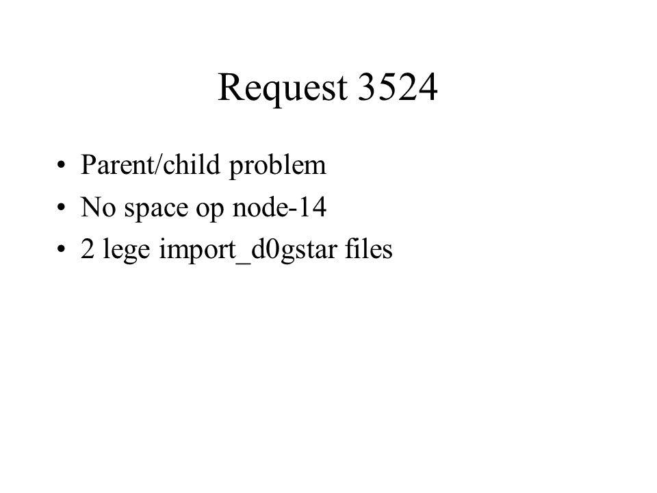Request 3524 Parent/child problem No space op node-14 2 lege import_d0gstar files