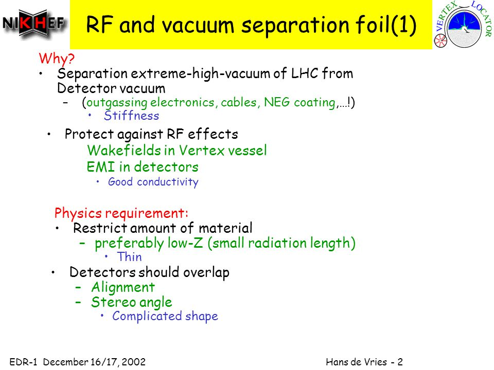 EDR-1 December 16/17, 2002 Hans de Vries - 2 RF and vacuum separation foil(1) Protect against RF effects Wakefields in Vertex vessel EMI in detectors Good conductivity Why.