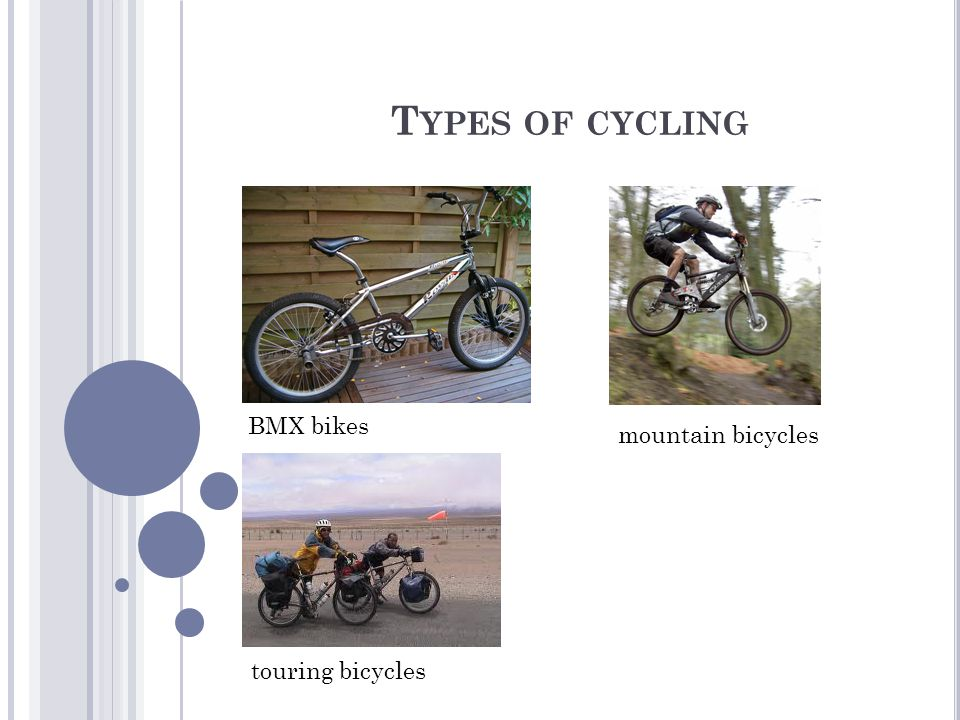 T YPES OF CYCLING BMX bikes touring bicycles mountain bicycles