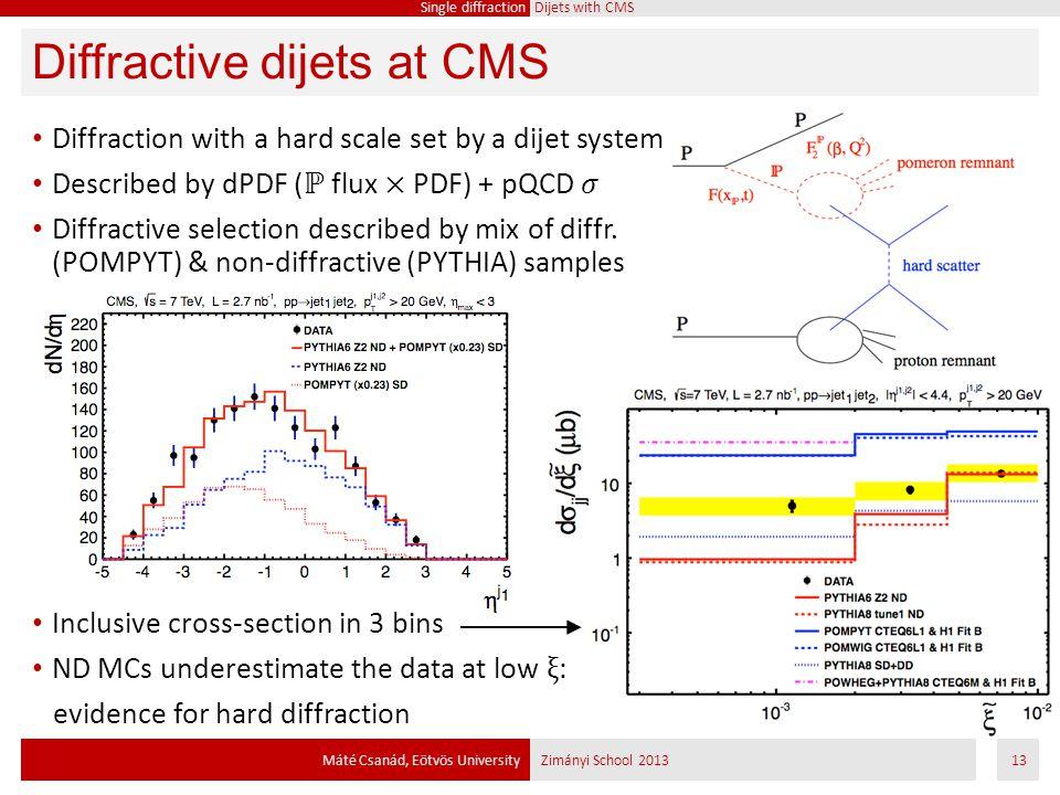Diffractive dijets at CMS Máté Csanád, Eötvös UniversityZimányi School 201313 Single diffraction Dijets with CMS