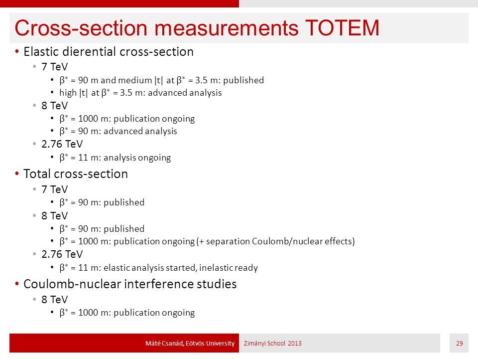 Cross-section measurements TOTEM Máté Csanád, Eötvös UniversityZimányi School 201329
