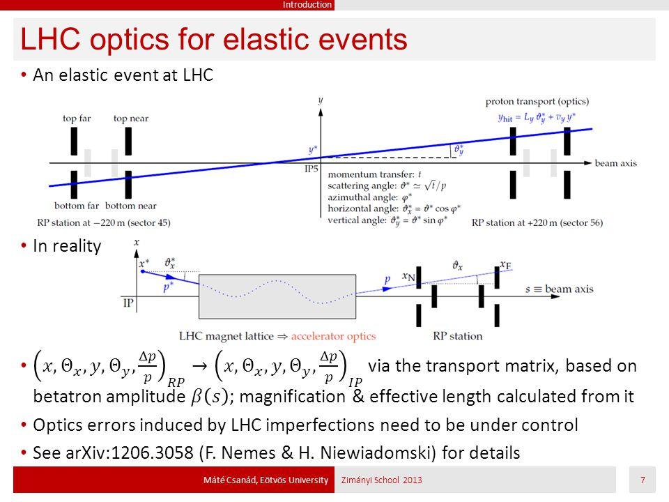 LHC optics for elastic events Máté Csanád, Eötvös UniversityZimányi School 20137 Introduction
