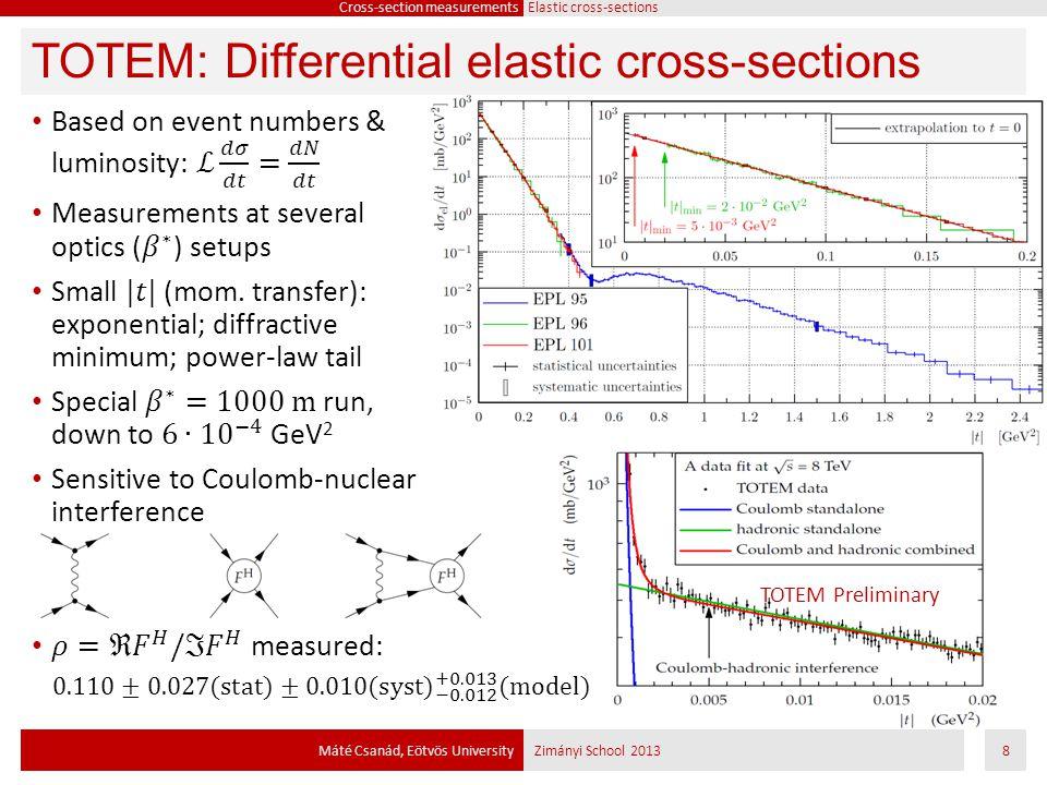 TOTEM Preliminary TOTEM: Differential elastic cross-sections Máté Csanád, Eötvös UniversityZimányi School 20138 Cross-section measurements Elastic cro