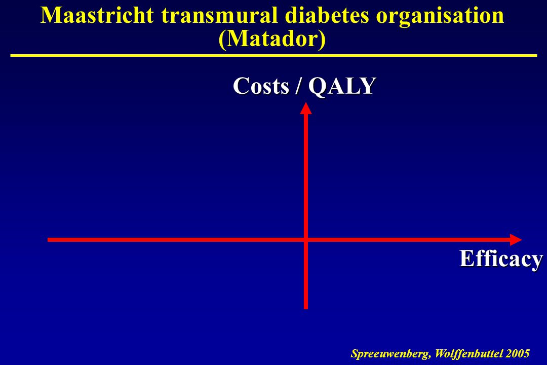 Costs / QALY Efficacy Maastricht transmural diabetes organisation (Matador)