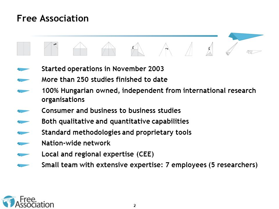 2 Free Association Started operations in November 2003 More than 250 studies finished to date 100% Hungarian owned, independent from international res