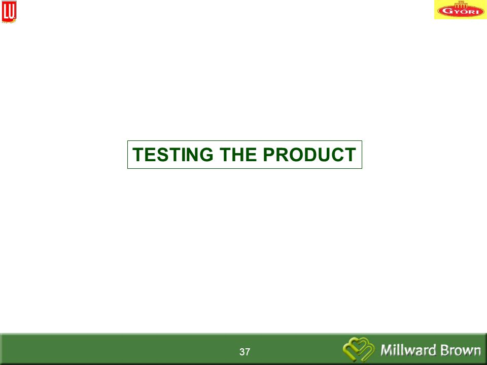 37 TESTING THE PRODUCT