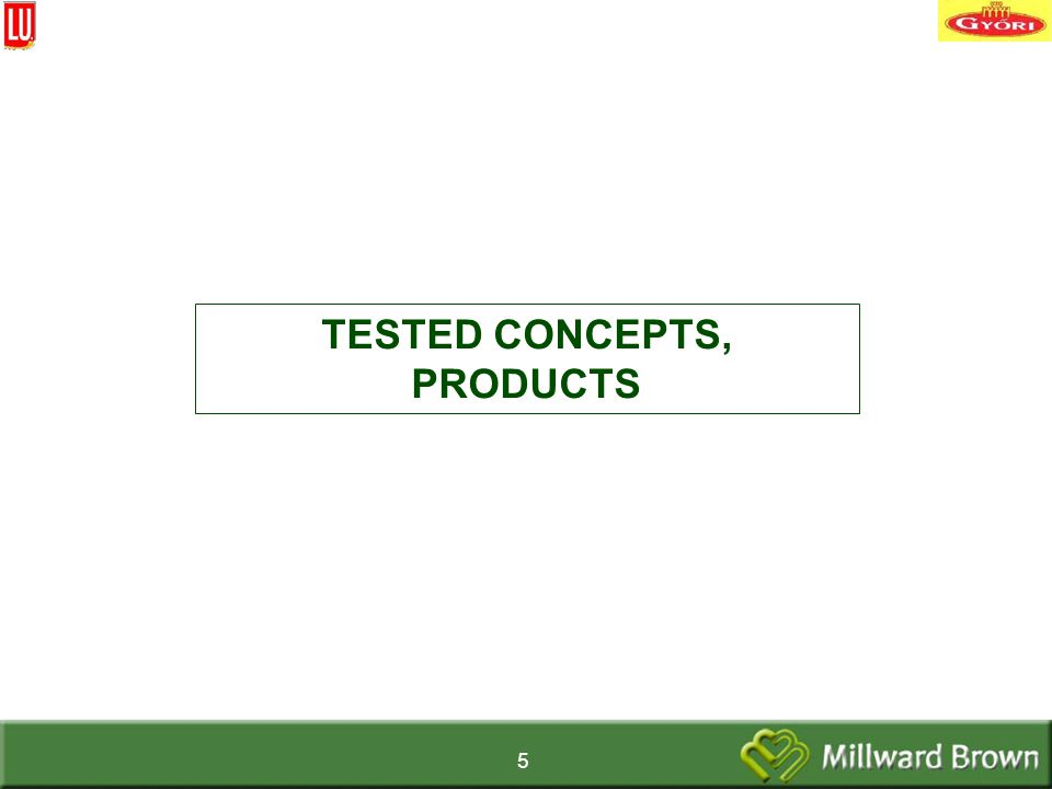 5 TESTED CONCEPTS, PRODUCTS