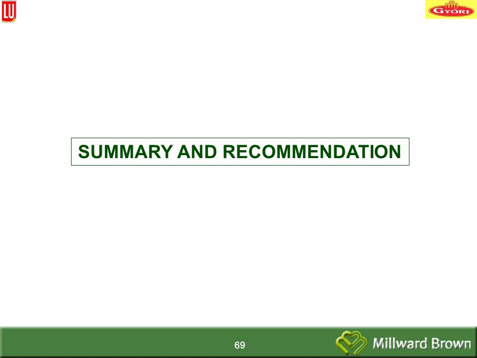 69 SUMMARY AND RECOMMENDATION