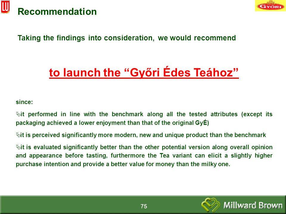75 Recommendation Taking the findings into consideration, we would recommend to launch the Győri Édes Teához since:  it performed in line with the benchmark along all the tested attributes (except its packaging achieved a lower enjoyment than that of the original GyÉ)  it is perceived significantly more modern, new and unique product than the benchmark  it is evaluated significantly better than the other potential version along overall opinion and appearance before tasting, furthermore the Tea variant can elicit a slightly higher purchase intention and provide a better value for money than the milky one.