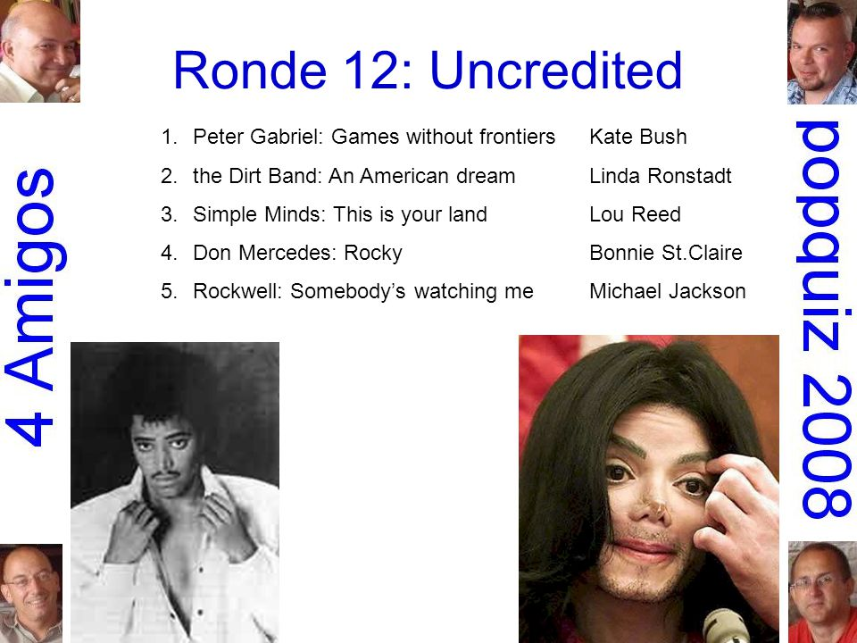 Ronde 12: Uncredited 1.Peter Gabriel: Games without frontiersKate Bush 2.the Dirt Band: An American dreamLinda Ronstadt 3.Simple Minds: This is your landLou Reed 4.Don Mercedes: RockyBonnie St.Claire 5.Rockwell: Somebody's watching meMichael Jackson
