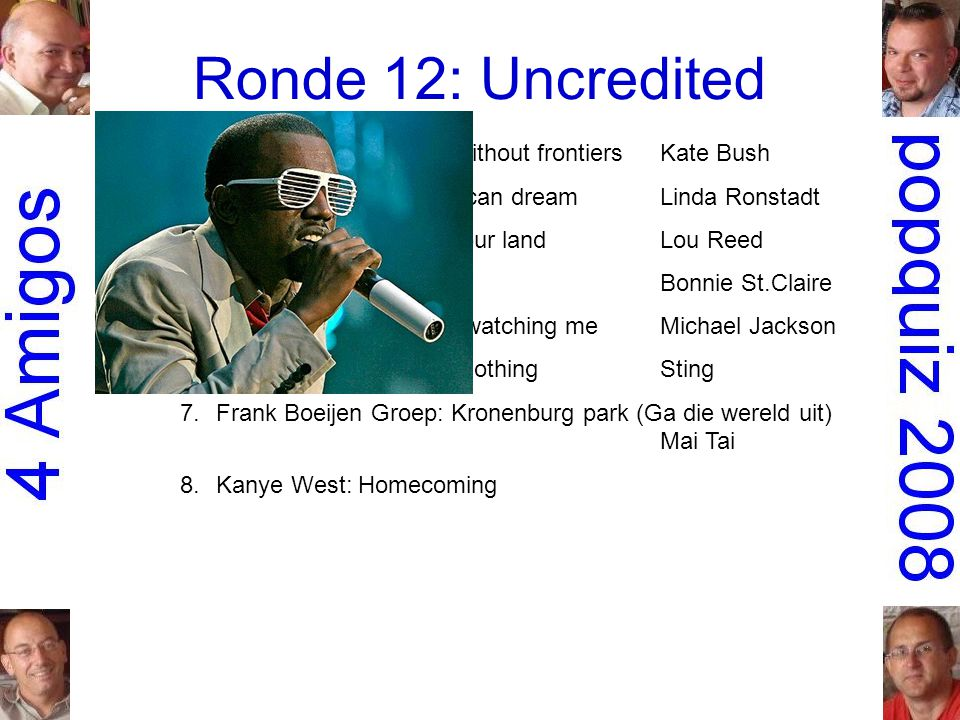 Ronde 12: Uncredited 1.Peter Gabriel: Games without frontiersKate Bush 2.the Dirt Band: An American dreamLinda Ronstadt 3.Simple Minds: This is your landLou Reed 4.Don Mercedes: RockyBonnie St.Claire 5.Rockwell: Somebody's watching meMichael Jackson 6.Dire Straits: Money for nothingSting 7.Frank Boeijen Groep: Kronenburg park (Ga die wereld uit) Mai Tai 8.Kanye West: Homecoming