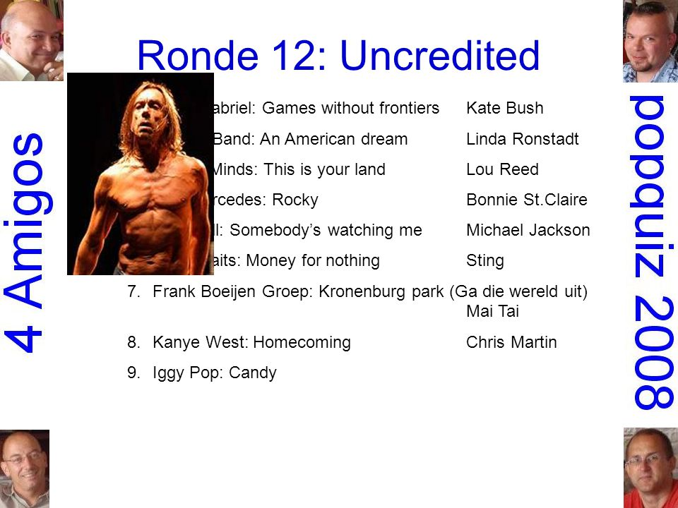 Ronde 12: Uncredited 1.Peter Gabriel: Games without frontiersKate Bush 2.the Dirt Band: An American dreamLinda Ronstadt 3.Simple Minds: This is your landLou Reed 4.Don Mercedes: RockyBonnie St.Claire 5.Rockwell: Somebody's watching meMichael Jackson 6.Dire Straits: Money for nothingSting 7.Frank Boeijen Groep: Kronenburg park (Ga die wereld uit) Mai Tai 8.Kanye West: HomecomingChris Martin 9.Iggy Pop: CandyKate Pierson