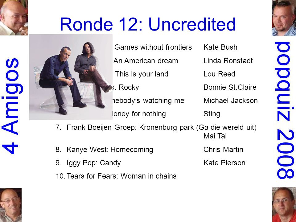 Ronde 12: Uncredited 1.Peter Gabriel: Games without frontiersKate Bush 2.the Dirt Band: An American dreamLinda Ronstadt 3.Simple Minds: This is your landLou Reed 4.Don Mercedes: RockyBonnie St.Claire 5.Rockwell: Somebody's watching meMichael Jackson 6.Dire Straits: Money for nothingSting 7.Frank Boeijen Groep: Kronenburg park (Ga die wereld uit) Mai Tai 8.Kanye West: HomecomingChris Martin 9.Iggy Pop: CandyKate Pierson 10.Tears for Fears: Woman in chains