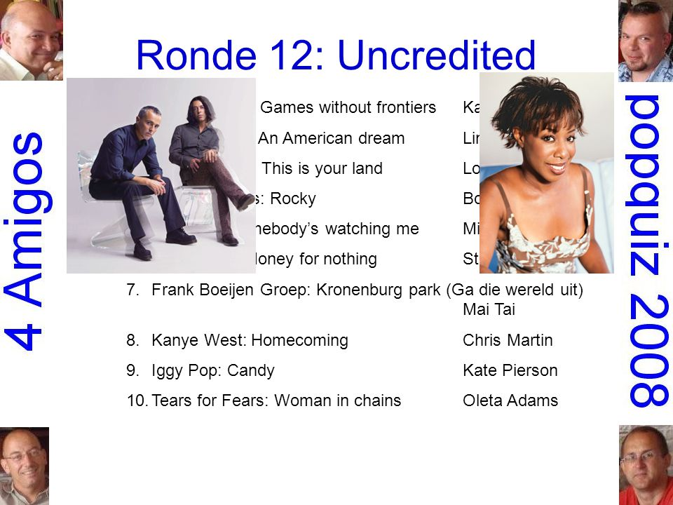 Ronde 12: Uncredited 1.Peter Gabriel: Games without frontiersKate Bush 2.the Dirt Band: An American dreamLinda Ronstadt 3.Simple Minds: This is your landLou Reed 4.Don Mercedes: RockyBonnie St.Claire 5.Rockwell: Somebody's watching meMichael Jackson 6.Dire Straits: Money for nothingSting 7.Frank Boeijen Groep: Kronenburg park (Ga die wereld uit) Mai Tai 8.Kanye West: HomecomingChris Martin 9.Iggy Pop: CandyKate Pierson 10.Tears for Fears: Woman in chainsOleta Adams