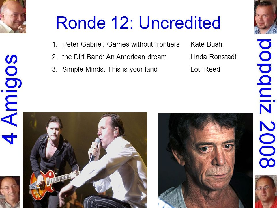 Ronde 12: Uncredited 1.Peter Gabriel: Games without frontiersKate Bush 2.the Dirt Band: An American dreamLinda Ronstadt 3.Simple Minds: This is your landLou Reed