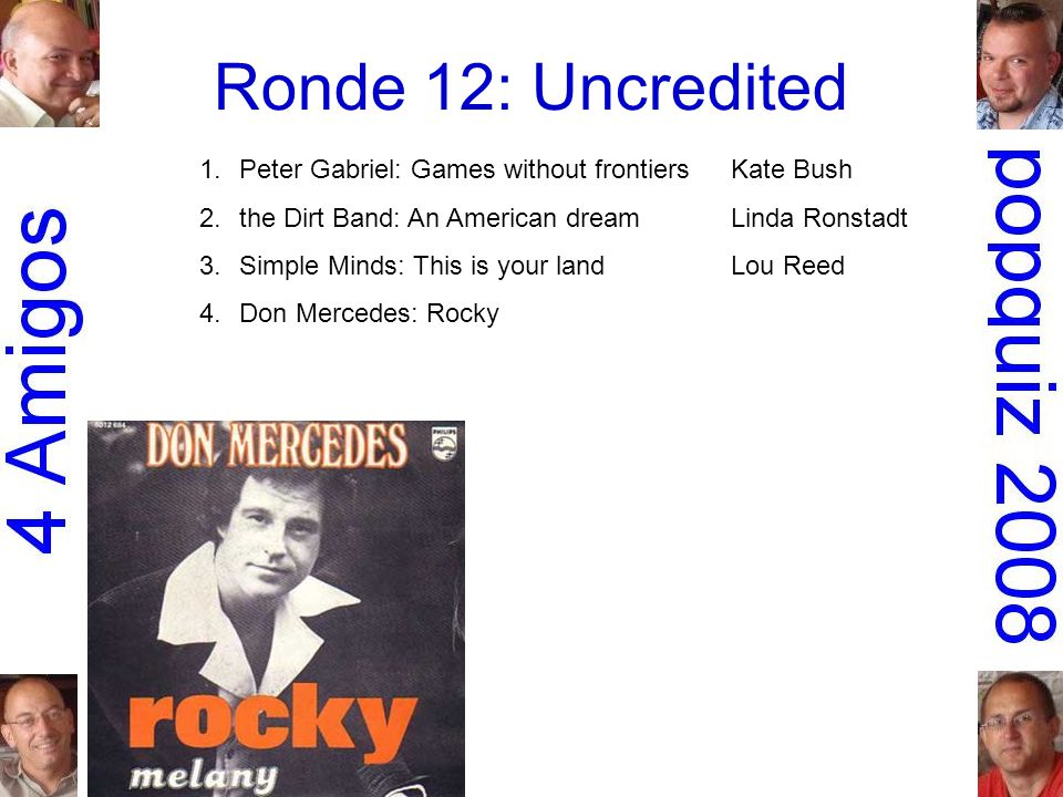 Ronde 12: Uncredited 1.Peter Gabriel: Games without frontiersKate Bush 2.the Dirt Band: An American dreamLinda Ronstadt 3.Simple Minds: This is your landLou Reed 4.Don Mercedes: Rocky