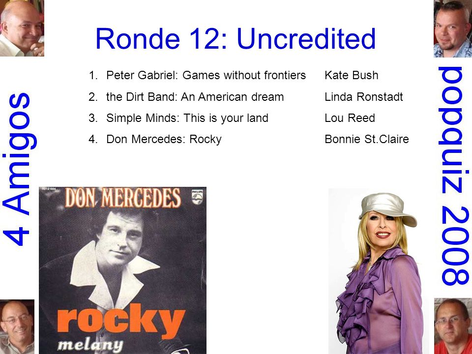Ronde 12: Uncredited 1.Peter Gabriel: Games without frontiersKate Bush 2.the Dirt Band: An American dreamLinda Ronstadt 3.Simple Minds: This is your landLou Reed 4.Don Mercedes: RockyBonnie St.Claire