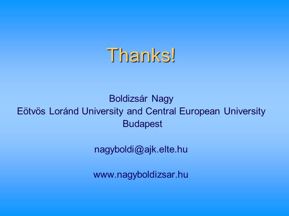 Thanks! Boldizsár Nagy Eötvös Loránd University and Central European University Budapest nagyboldi@ajk.elte.hu www.nagyboldizsar.hu