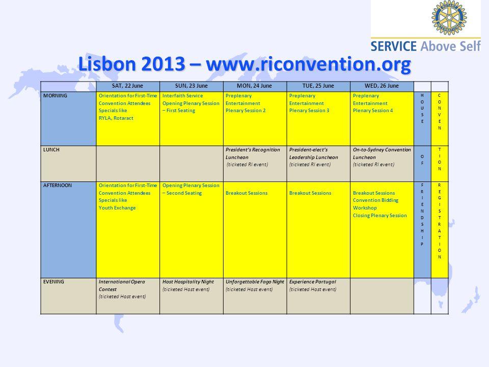 Lisbon 2013 – www.riconvention.org SAT, 22 JuneSUN, 23 JuneMON, 24 JuneTUE, 25 JuneWED, 26 June MORNING Orientation for First-Time Convention Attendee