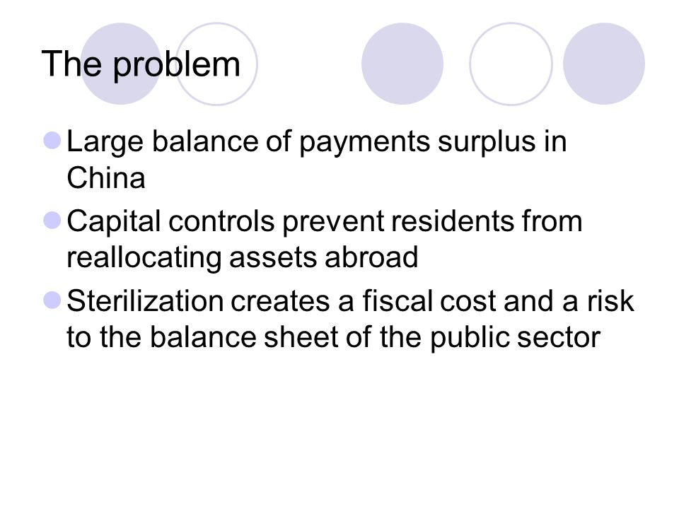 The problem Large balance of payments surplus in China Capital controls prevent residents from reallocating assets abroad Sterilization creates a fiscal cost and a risk to the balance sheet of the public sector