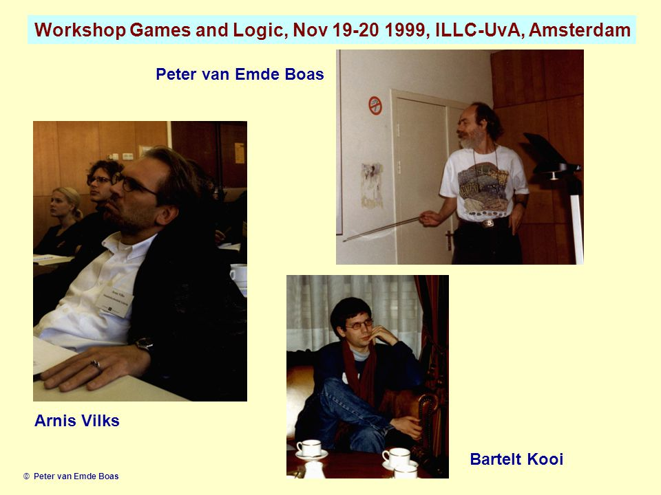 Workshop Games and Logic, Nov 19-20 1999, ILLC-UvA, Amsterdam © Peter van Emde Boas Arnis Vilks Peter van Emde Boas Bartelt Kooi