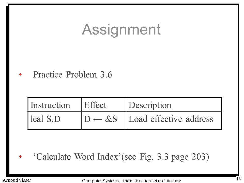 University of Amsterdam Computer Systems – the instruction set architecture Arnoud Visser 10 Assignment Practice Problem 3.6 'Calculate Word Index'(see Fig.