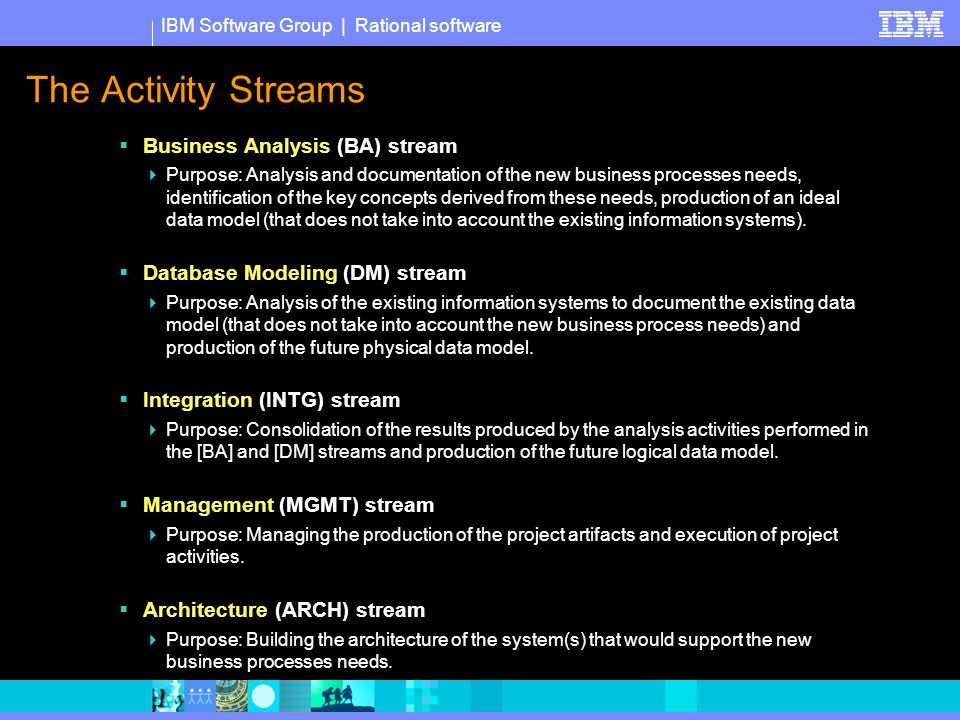 IBM Software Group | Rational software The Activity Streams  Business Analysis (BA) stream  Purpose: Analysis and documentation of the new business processes needs, identification of the key concepts derived from these needs, production of an ideal data model (that does not take into account the existing information systems).